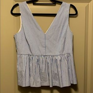 J crew peplum blue and white stripe top